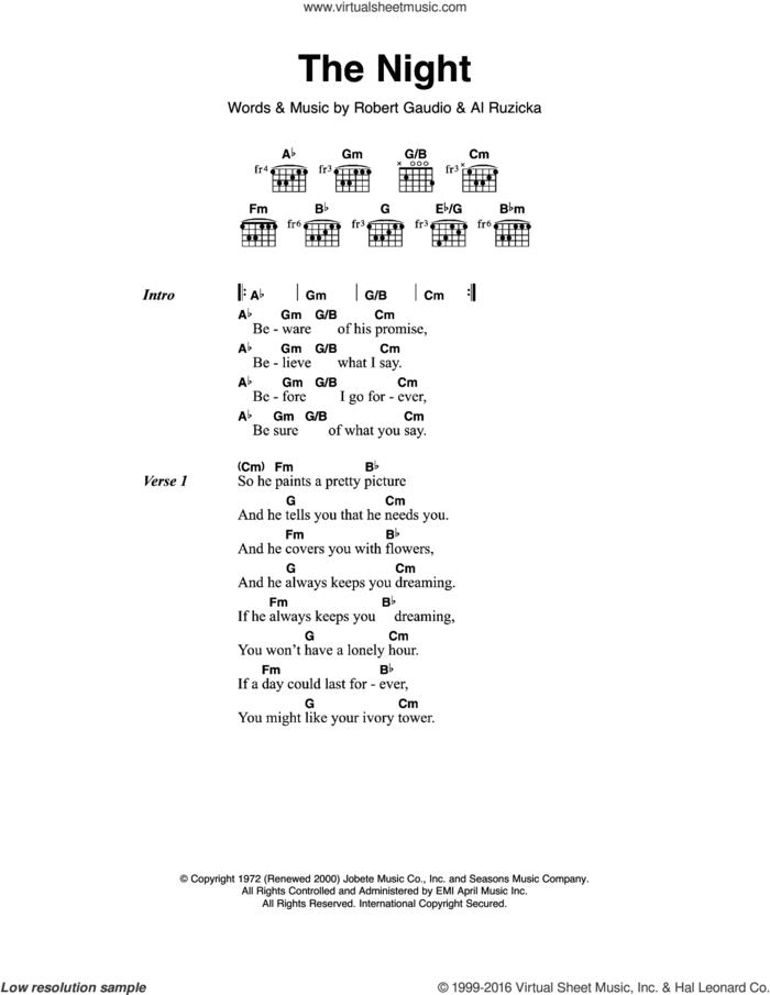 The Night sheet music for guitar (chords) by Frankie Valli & The Four Seasons, Al Ruzicka and Bob Gaudio, intermediate skill level