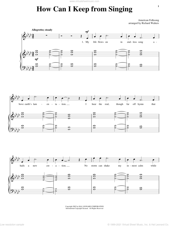 How Can I Keep From Singing sheet music for voice and piano, intermediate skill level