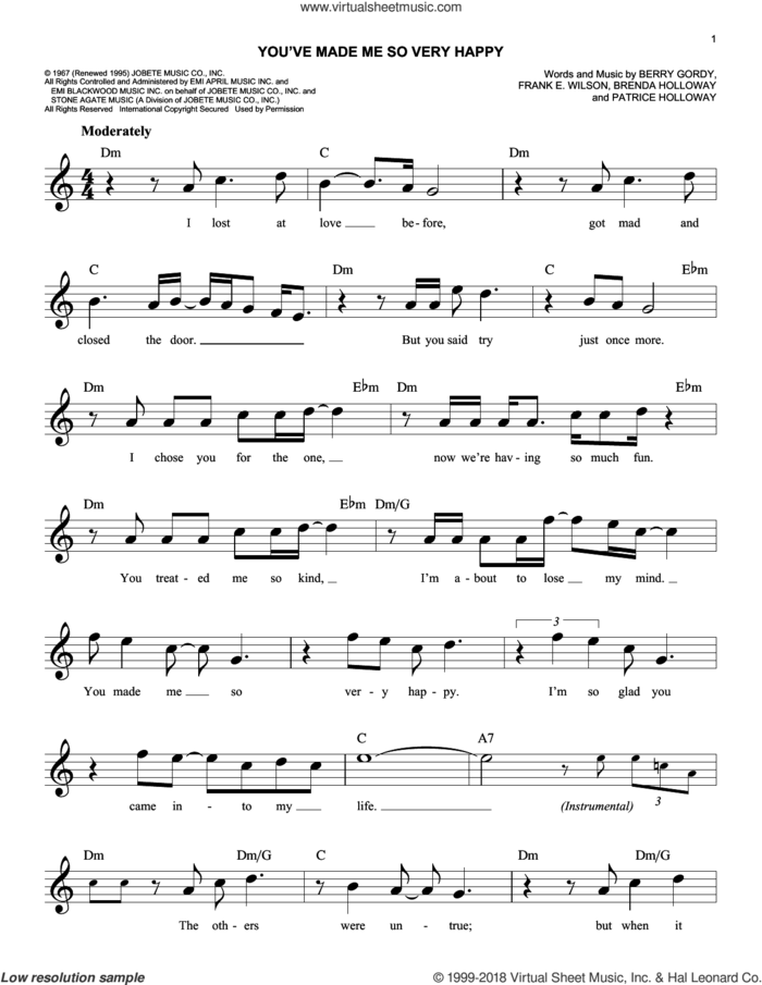 You've Made Me So Very Happy sheet music for voice and other instruments (fake book) by Blood, Sweat & Tears and Berry Gordy, wedding score, intermediate skill level
