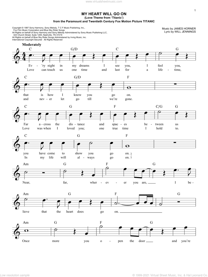 My Heart Will Go On (Love Theme From 'Titanic') sheet music for voice and other instruments (fake book) by Celine Dion and Will Jennings, wedding score, intermediate skill level