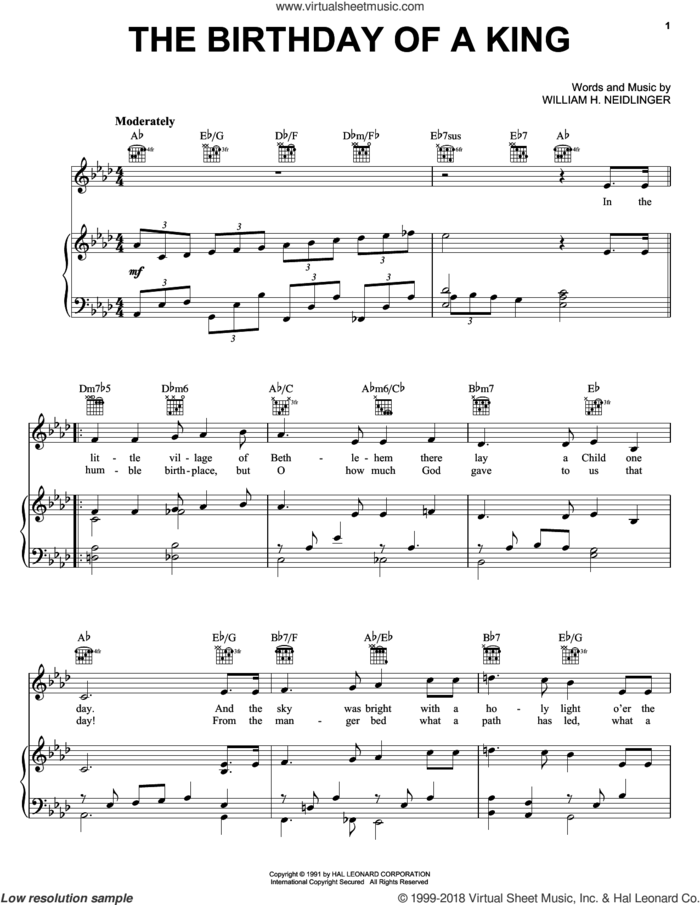 The Birthday of a King (Neidlinger) sheet music for voice, piano or guitar by William Harold Neidlinger, intermediate skill level