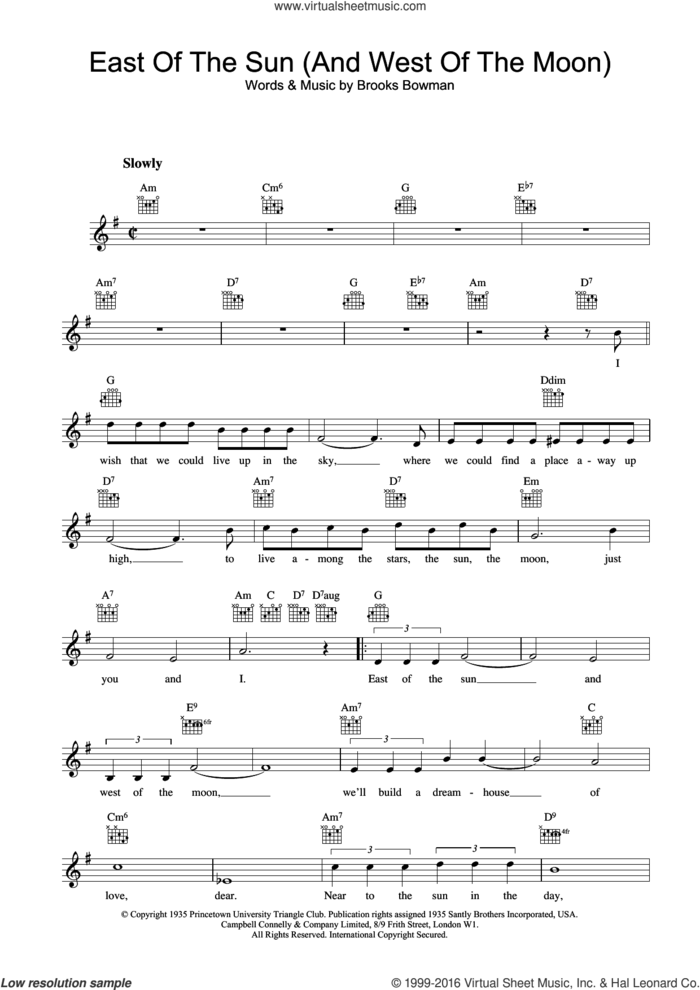 East Of The Sun (And West Of The Moon) sheet music for voice and other instruments (fake book) by Frank Sinatra and Brooks Bowman, intermediate skill level