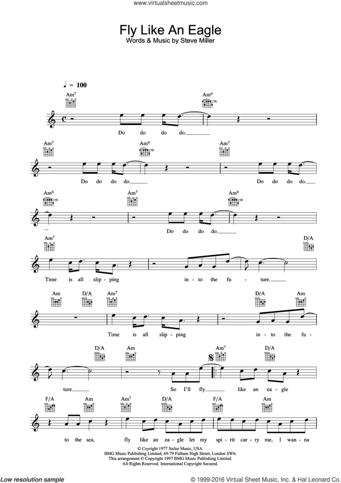Fly Like An Eagle sheet music for voice and other instruments (fake book) by The Steve Miller Band and Steve Miller, intermediate skill level