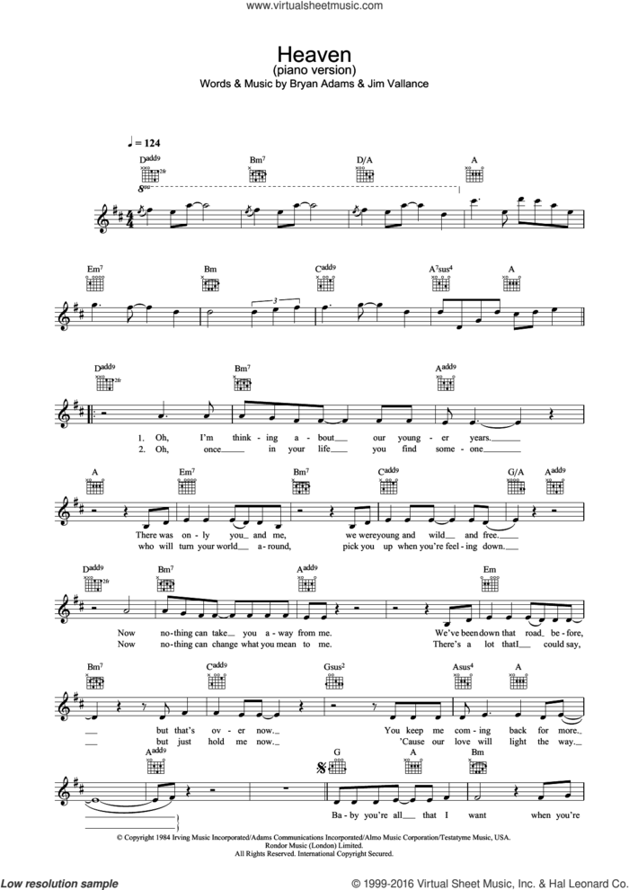 Heaven (piano version) sheet music for voice and other instruments (fake book) by Bryan Adams, DJ Sammy and Jim Vallance, intermediate skill level