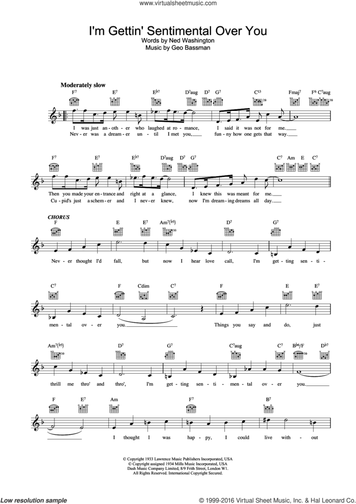 I'm Gettin' Sentimental Over You sheet music for voice and other instruments (fake book) by Frank Sinatra and Geo Bassman, intermediate skill level