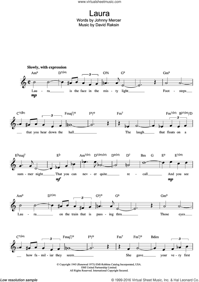 Laura sheet music for voice and other instruments (fake book) by David Raksin and Johnny Mercer, intermediate skill level