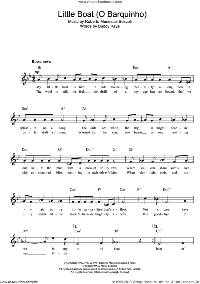 Little Boat (O Barquinho) sheet music for voice and other instruments (fake book) by Buddy Kaye and Roberto Menescal, intermediate skill level
