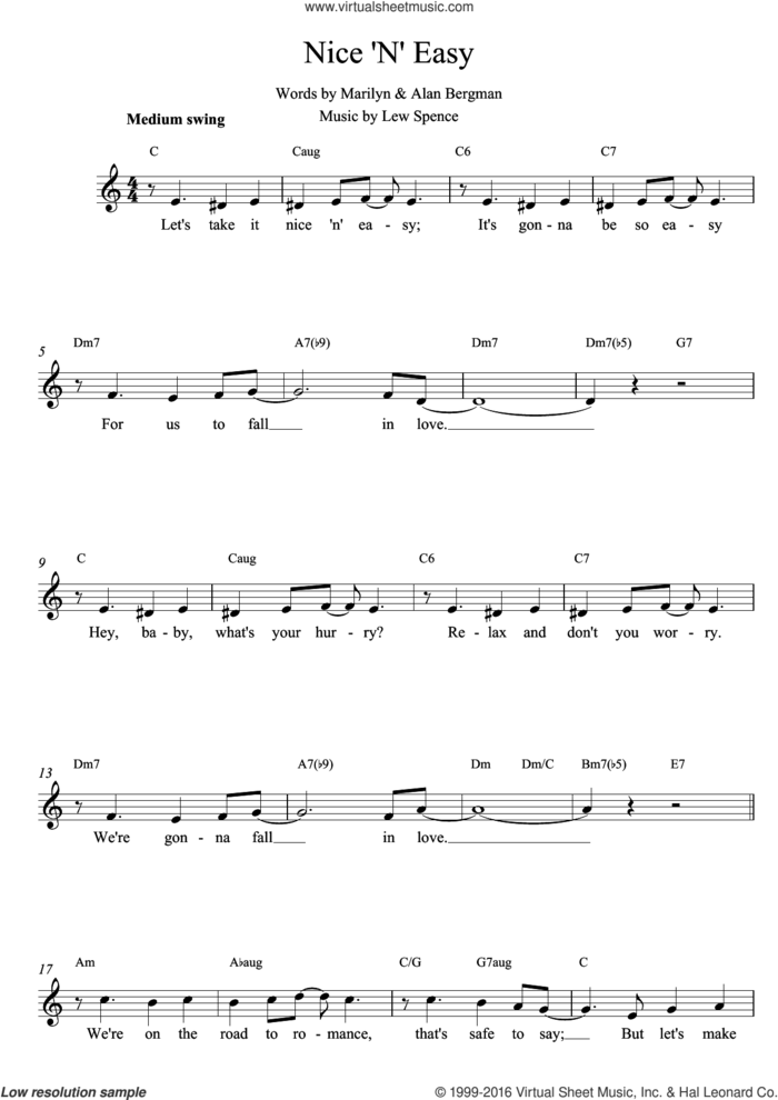 Nice 'N' Easy sheet music for voice and other instruments (fake book) by Lew Spence, Alan Bergman and Marilyn Bergman, intermediate skill level