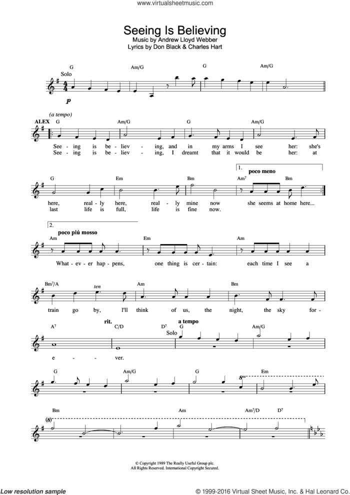 Seeing Is Believing (from Aspects Of Love) sheet music for voice and other instruments (fake book) by Andrew Lloyd Webber, Charles Hart and Don Black, intermediate skill level