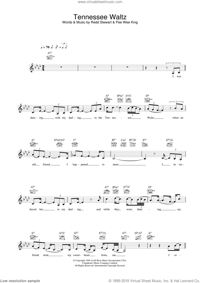 Tennessee Waltz sheet music for voice and other instruments (fake book) by Eva Cassidy, Pee Wee King and Redd Stewart, intermediate skill level