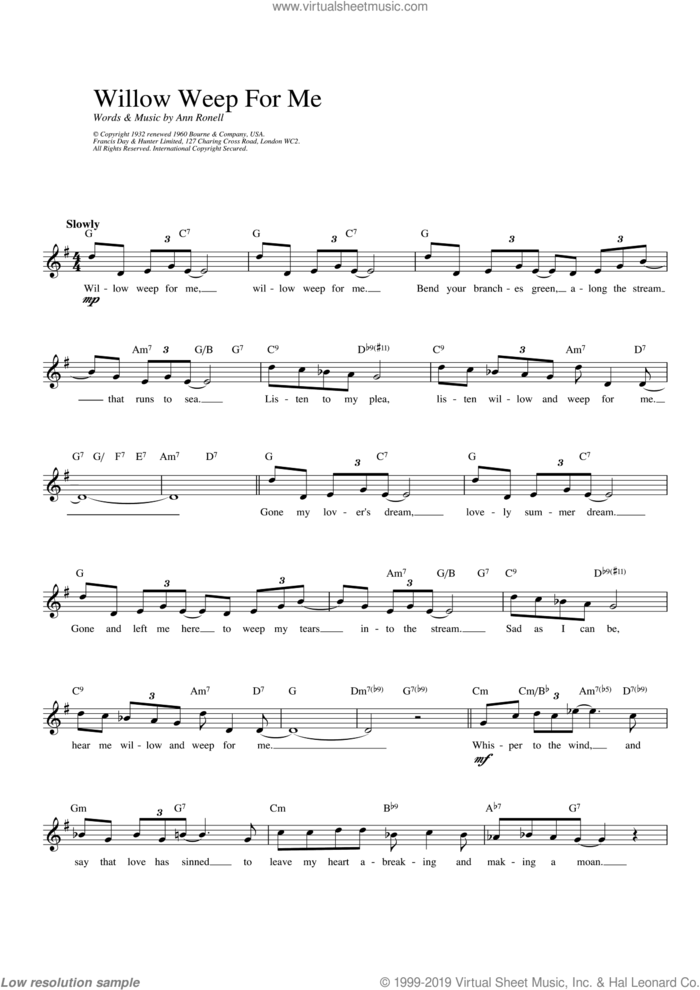 Willow Weep For Me sheet music for voice and other instruments (fake book) by Ann Ronell, intermediate skill level