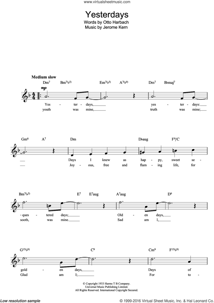 Yesterdays sheet music for voice and other instruments (fake book) by Jerome Kern, intermediate skill level