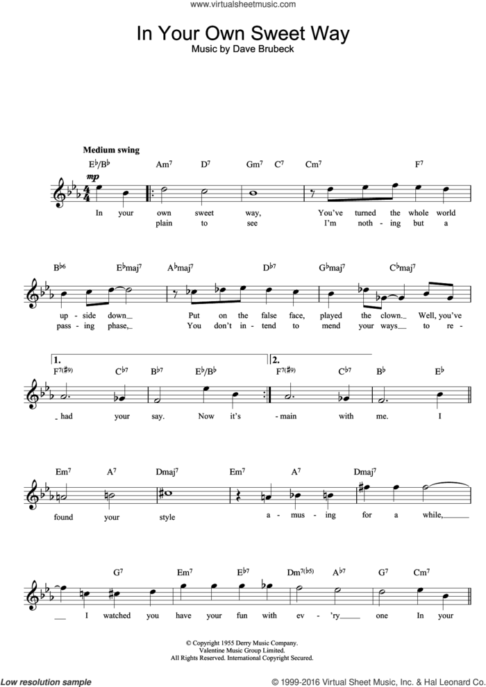 In Your Own Sweet Way sheet music for voice and other instruments (fake book) by Dave Brubeck, intermediate skill level