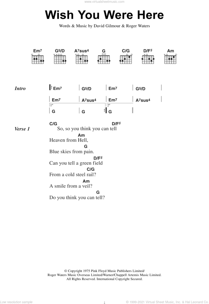 Wish You Were Here sheet music for guitar (chords) by Pink Floyd, David Gilmour and Roger Waters, intermediate skill level