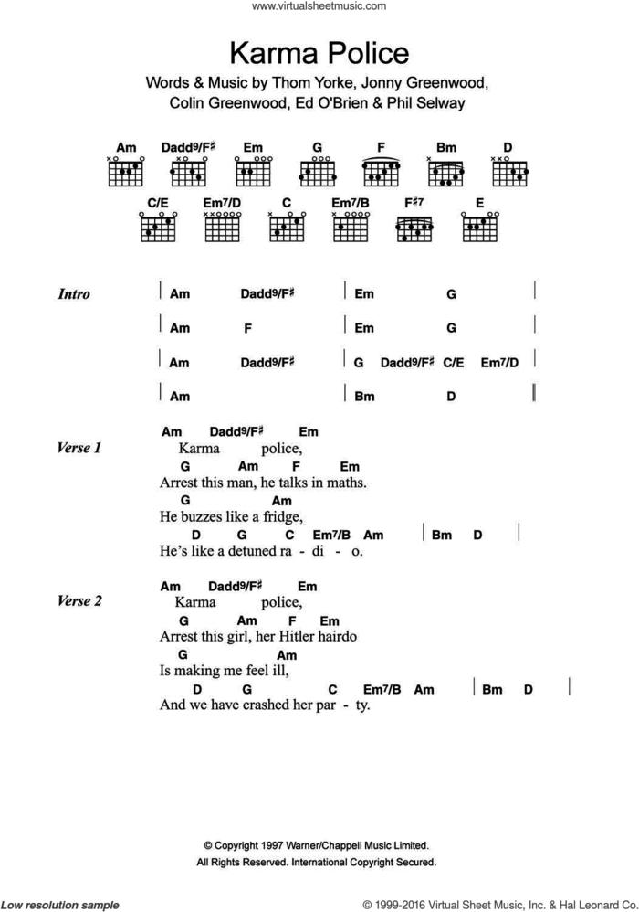 Karma Police sheet music for guitar (chords) by Radiohead, Colin Greenwood, Jonny Greenwood, Phil Selway and Thom Yorke, intermediate skill level