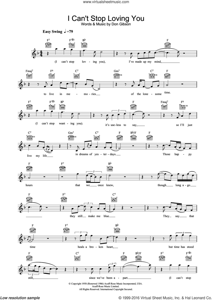 I Can't Stop Loving You sheet music for voice and other instruments (fake book) by Ray Charles and Don Gibson, intermediate skill level