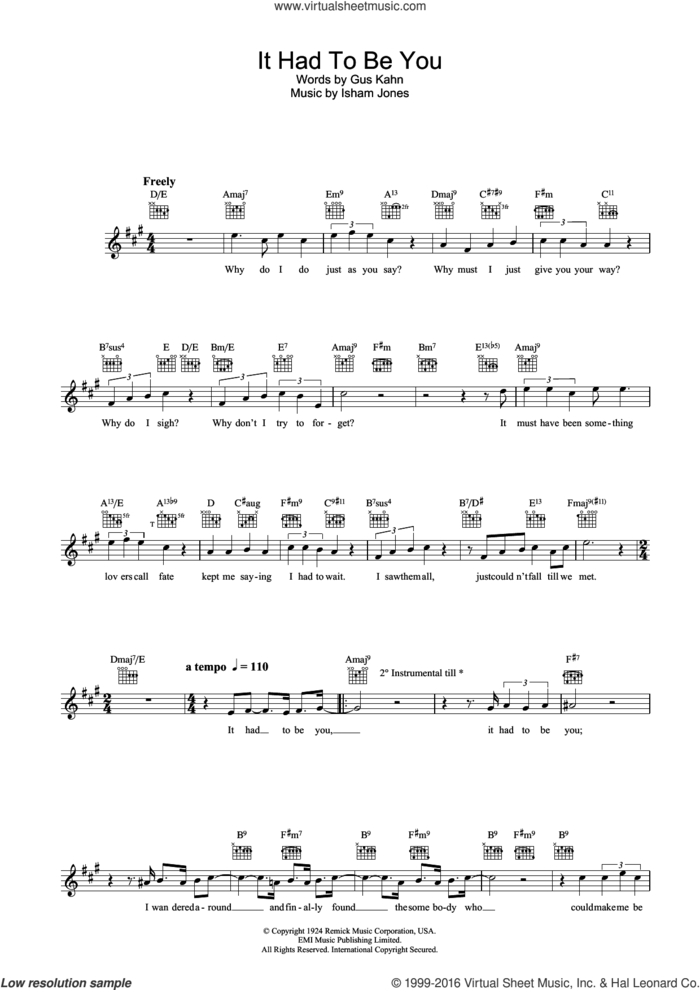 It Had To Be You sheet music for voice and other instruments (fake book) by Gus Kahn, Rod Stewart and Isham Jones, intermediate skill level