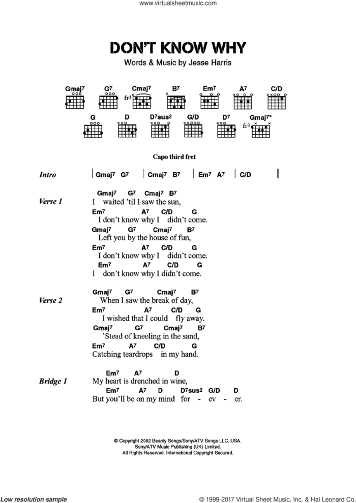 Don't Know Why sheet music for guitar (chords) by Norah Jones and Jesse Harris, intermediate skill level