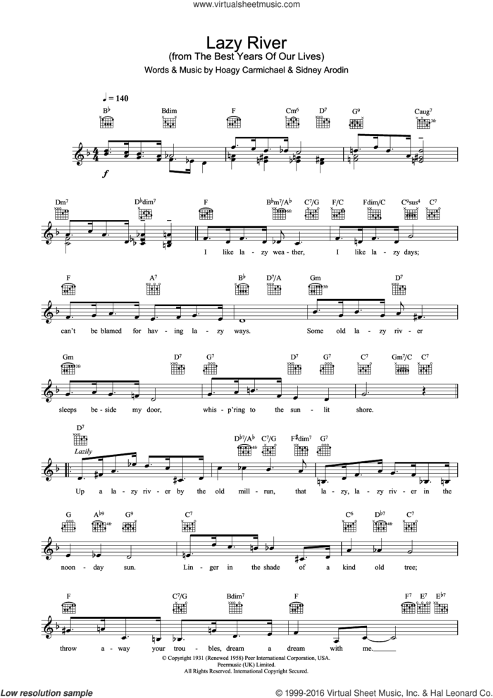Lazy River sheet music for voice and other instruments (fake book) by Bobby Darin, Hoagy Carmichael and Sidney Arodin, intermediate skill level