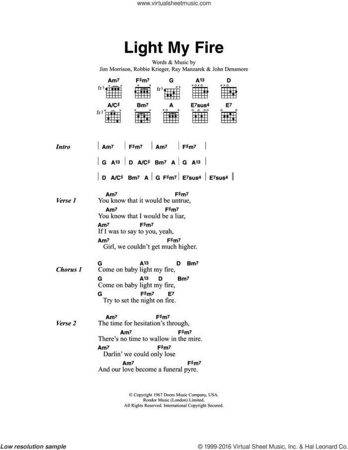 Light My Fire sheet music for guitar (chords) by Jose Feliciano, Jim Morrison, John Densmore, Ray Manzarek and Robbie Krieger, intermediate skill level