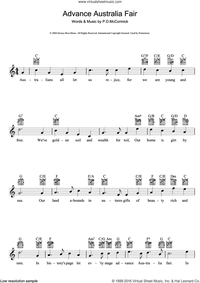 Advance Australia Fair (Australian National Anthem) sheet music for voice and other instruments (fake book) by Peter Dodds McCormick, intermediate skill level