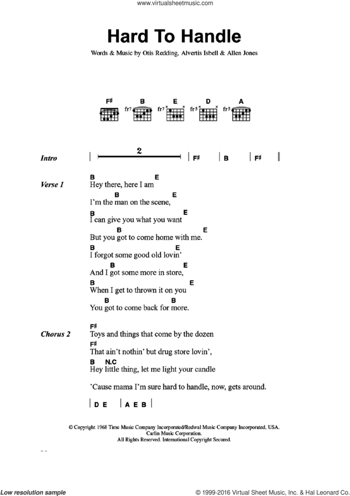 Hard To Handle sheet music for guitar (chords) by The Black Crowes, Allen Jones, Alvertis Isbell and Otis Redding, intermediate skill level