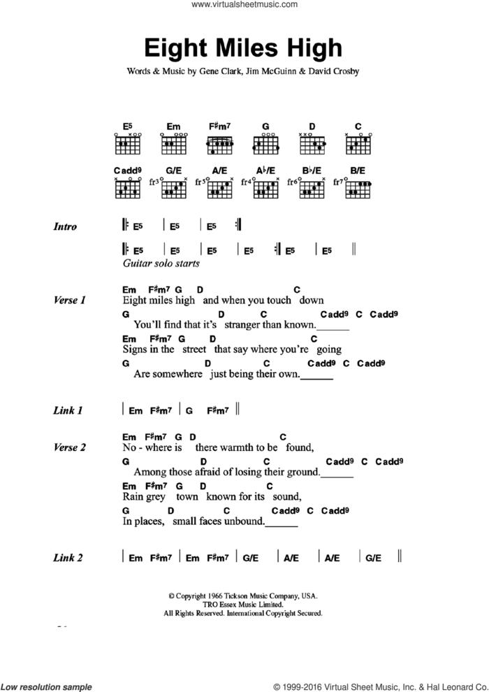 Eight Miles High sheet music for guitar (chords) by The Byrds, David Crosby, Gene Clark and Jim McGuinn, intermediate skill level