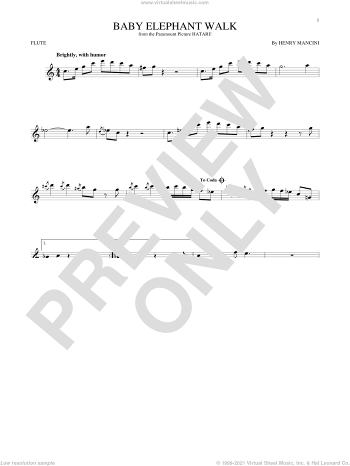 Baby Elephant Walk sheet music for flute solo by Henry Mancini, Lawrence Welk and Hal David, intermediate skill level