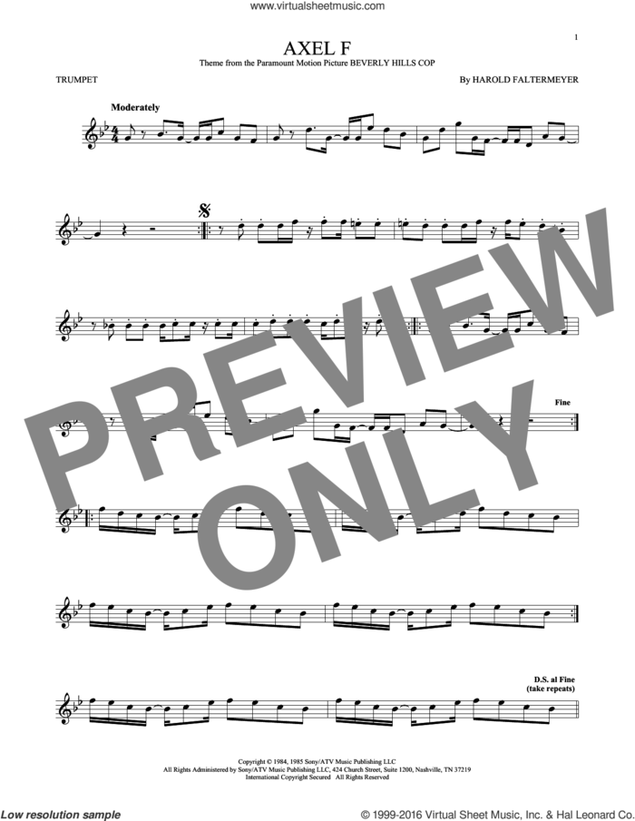 Axel F sheet music for trumpet solo by Crazy Frog and Harold Faltermeyer, intermediate skill level