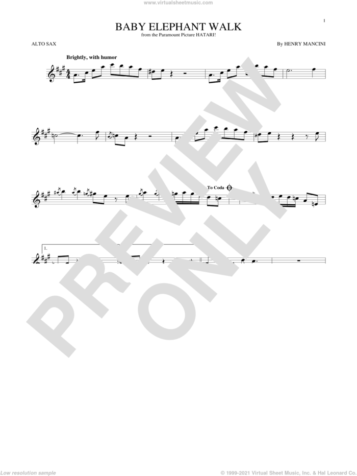 Baby Elephant Walk sheet music for alto saxophone solo by Henry Mancini, Lawrence Welk and Hal David, intermediate skill level