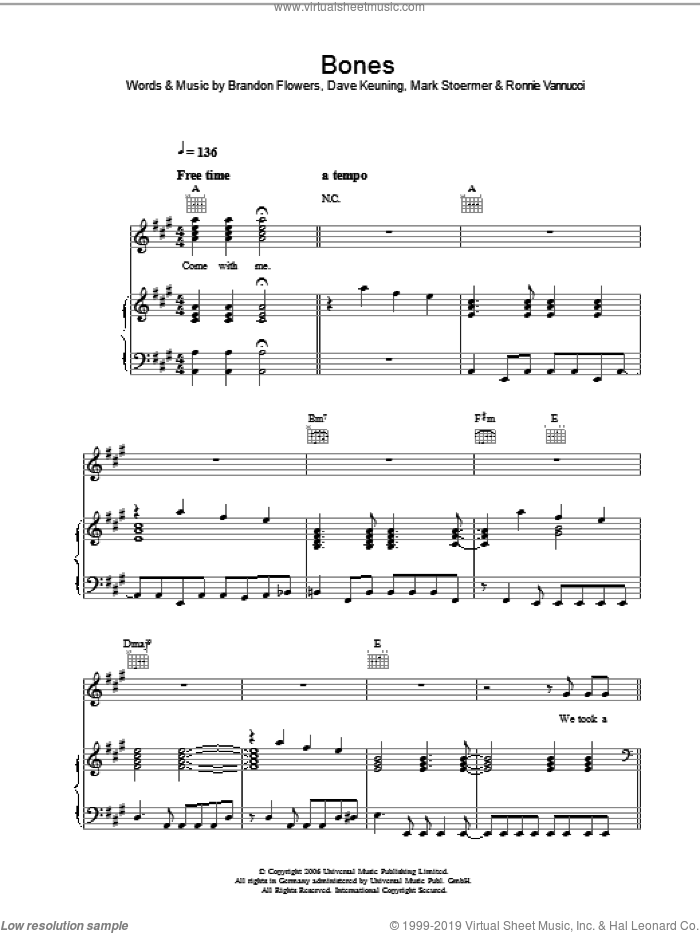 Bones sheet music for voice, piano or guitar by The Killers, Brandon Flowers, Dave Keuning, Mark Stoermer and Ronnie Vannucci, intermediate skill level