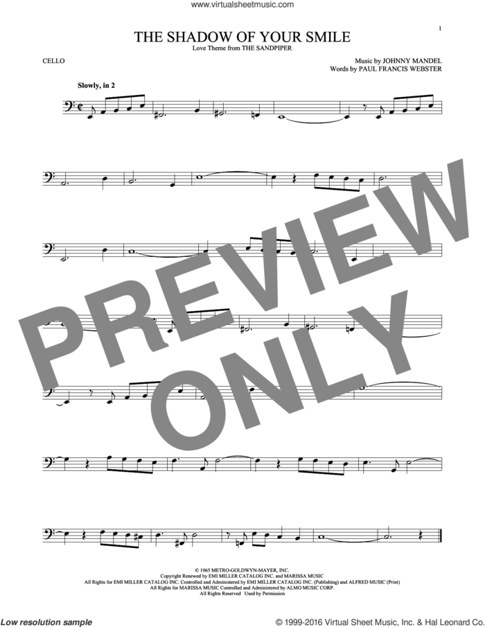 The Shadow Of Your Smile sheet music for cello solo by Paul Francis Webster and Johnny Mandel, intermediate skill level