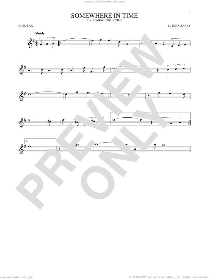 Somewhere In Time sheet music for alto saxophone solo by John Barry and B.A. Robertson, intermediate skill level