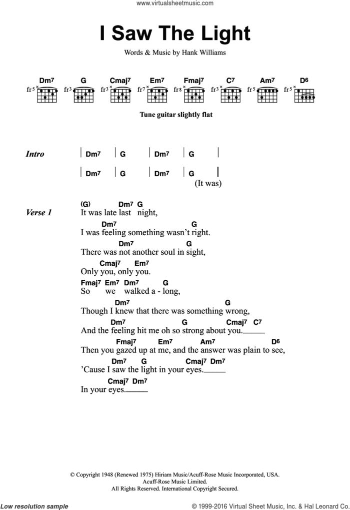 I Saw The Light sheet music for guitar (chords) by Todd Rundgren, intermediate skill level