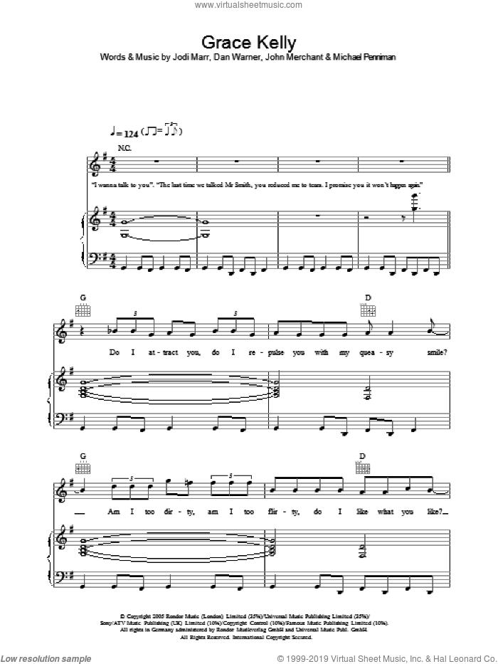 Grace Kelly sheet music for voice, piano or guitar by Mika, Dan Warner, Jodi Marr, John Merchant and Michael Penniman, intermediate skill level