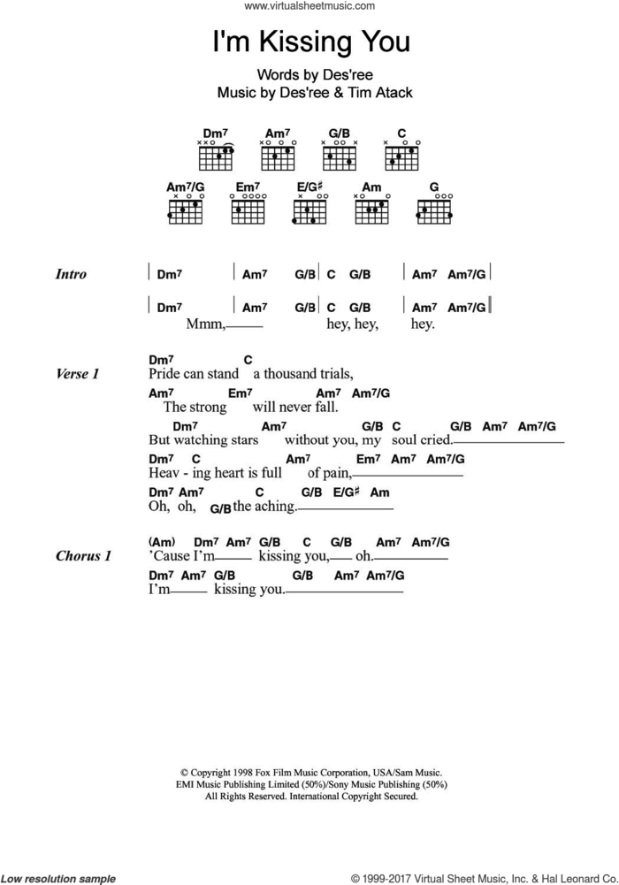 I'm Kissing You sheet music for guitar (chords) by Des'ree and Tim Atack, intermediate skill level