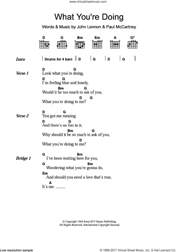 What You're Doing sheet music for guitar (chords) by The Beatles, John Lennon and Paul McCartney, intermediate skill level