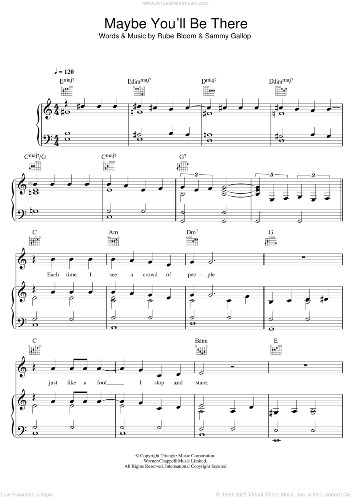 Maybe You'll Be There sheet music for voice, piano or guitar by Bob Dylan, Diana Krall, Rube Bloom and Sammy Gallop, intermediate skill level