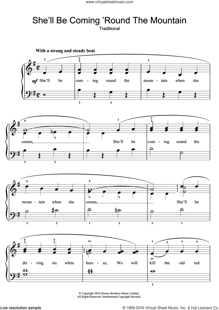 She'll Be Coming 'Round The Mountain sheet music for piano solo by Traditional Nursery Rhyme and Miscellaneous, easy skill level