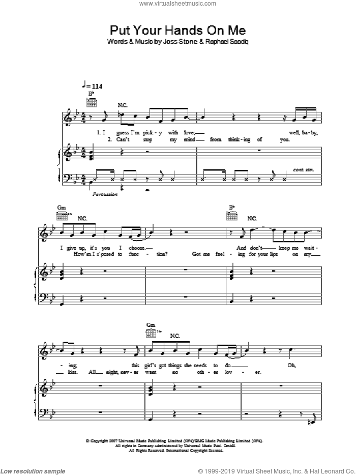 Put Your Hands On Me sheet music for voice, piano or guitar by Joss Stone and Raphael Saadiq, intermediate skill level