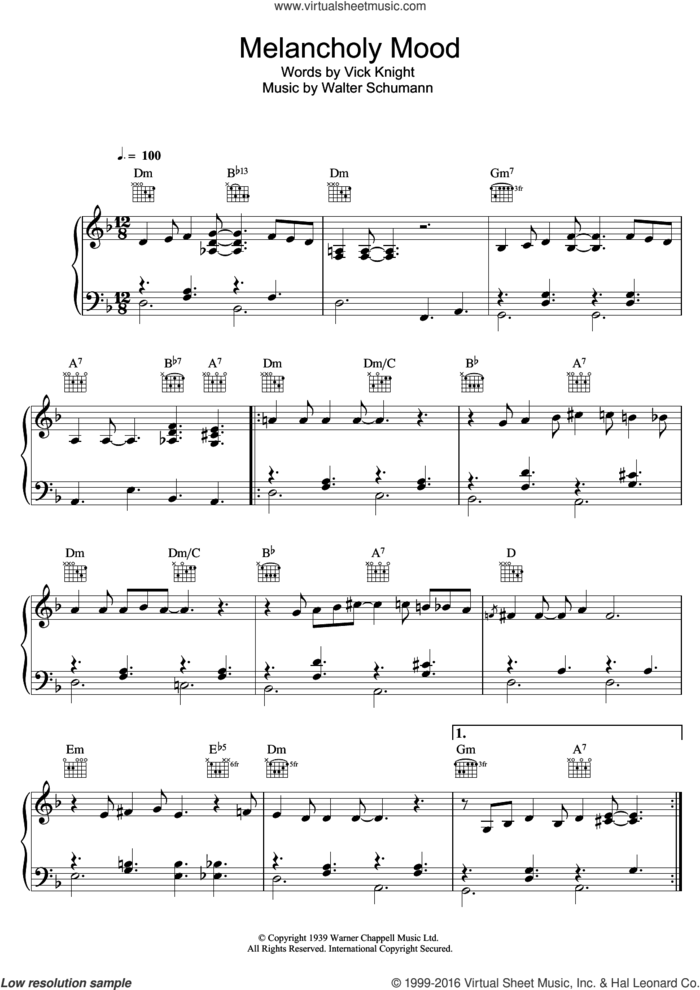 Melancholy Mood sheet music for voice, piano or guitar by Bob Dylan, Vick Knight and Walter Schumann, intermediate skill level