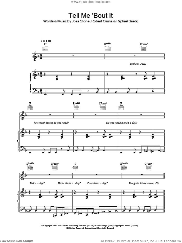 Tell Me 'Bout It sheet music for voice, piano or guitar by Joss Stone, Raphael Saadiq and Robert Ozuna, intermediate skill level