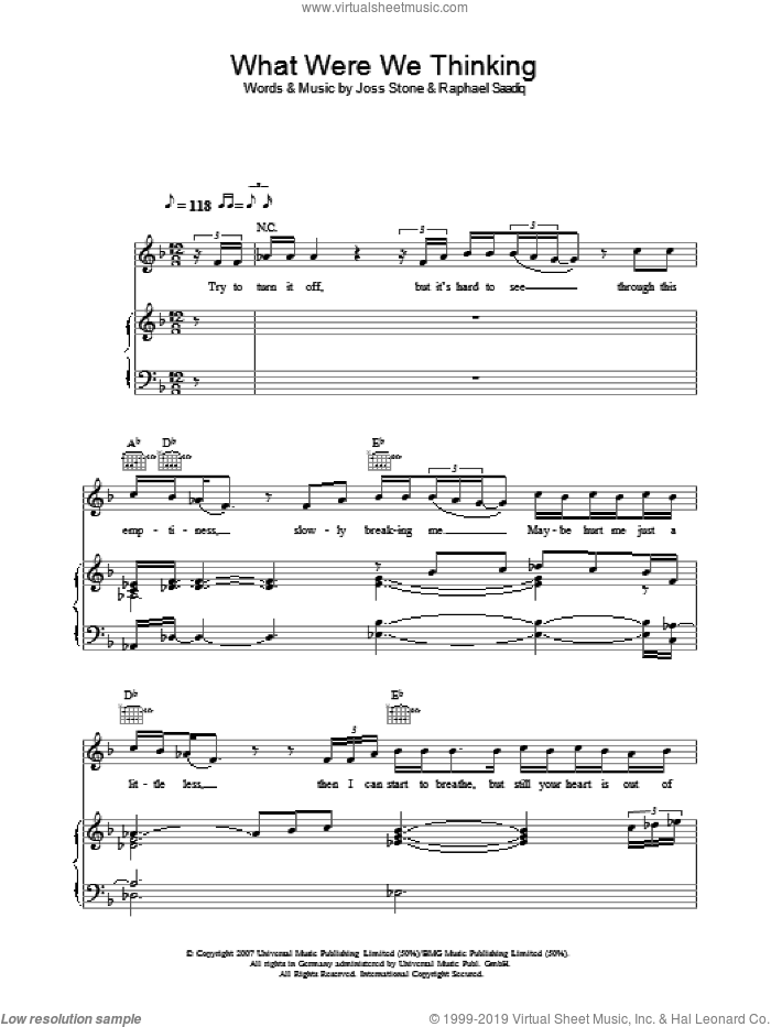 What Were We Thinking sheet music for voice, piano or guitar by Joss Stone and Raphael Saadiq, intermediate skill level