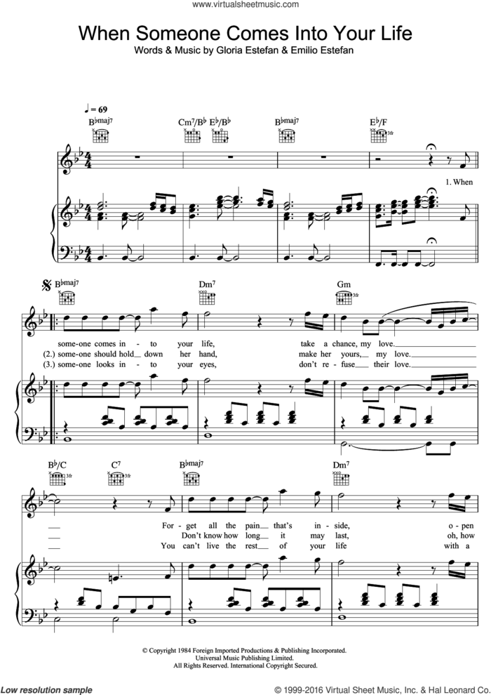 When Someone Comes Into Your Life sheet music for voice, piano or guitar by Miami Sound Machine, Emilio Estefan and Gloria Estefan, intermediate skill level