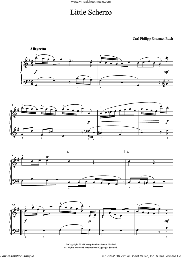 Little Scherzo sheet music for piano solo by Carl Philipp Emanuel Bach and Carl Philip Emanuel Bach, classical score, easy skill level