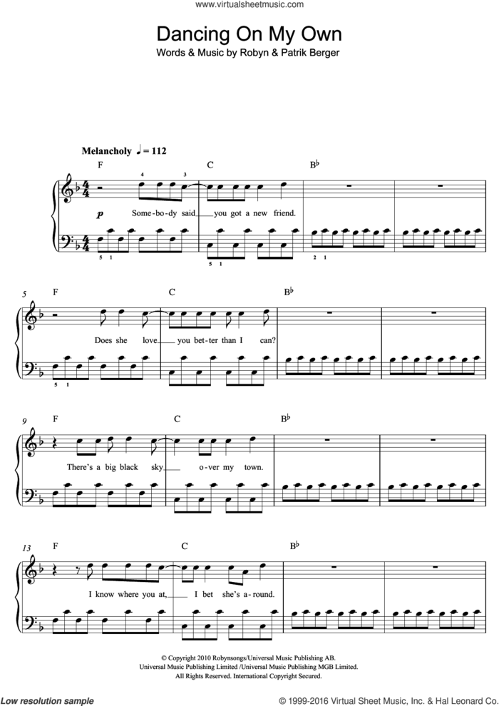 Dancing On My Own sheet music for voice, piano or guitar by Calum Scott, Patrik Berger and Robyn, intermediate skill level
