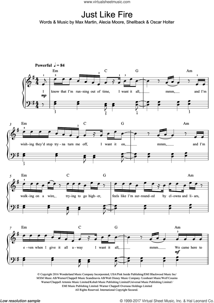 Just Like Fire sheet music for voice, piano or guitar by Max Martin, Miscellaneous, P!nk, Alecia Moore, Oscar Holter and Shellback, intermediate skill level