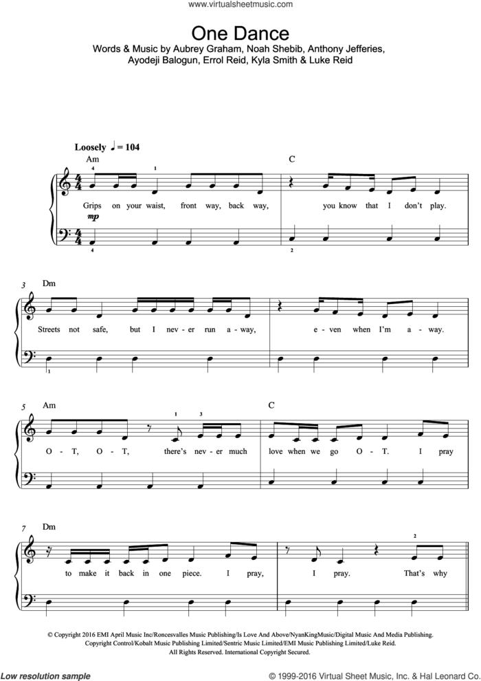 One Dance sheet music for voice, piano or guitar by Drake, Anthony Jefferies, Aubrey Graham, Ayodeji Balogun, Errol Reid, Kyla Smith, Luke Reid and Noah Shebib, intermediate skill level