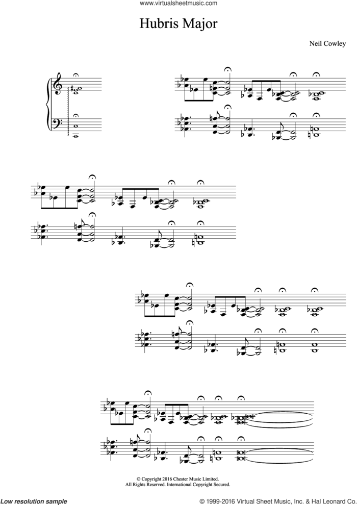 Hubris Major sheet music for piano solo by Neil Cowley Trio and Neil Cowley, intermediate skill level