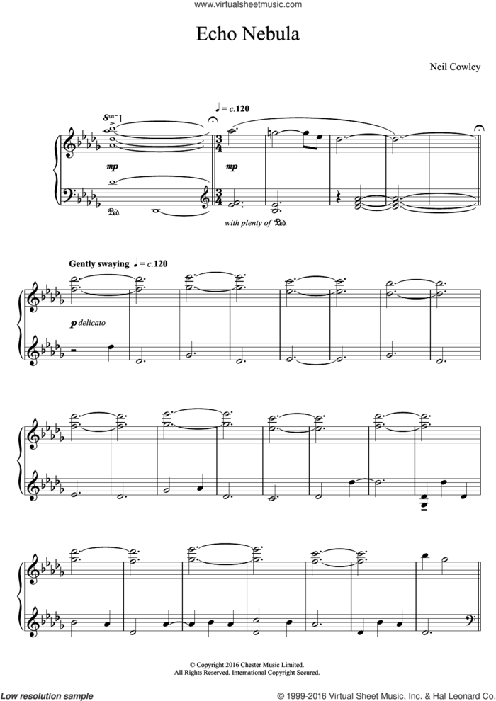 Echo Nebula sheet music for piano solo by Neil Cowley Trio and Neil Cowley, intermediate skill level